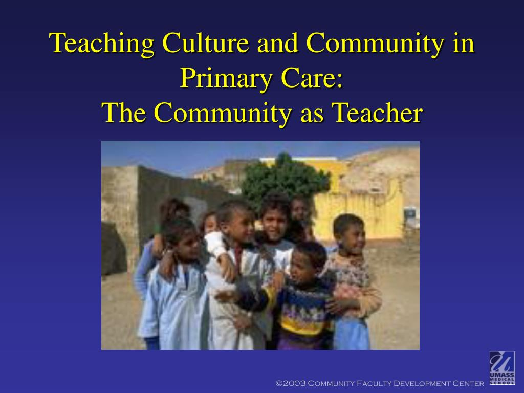 teaching culture and community in primary care the community as teacher l.