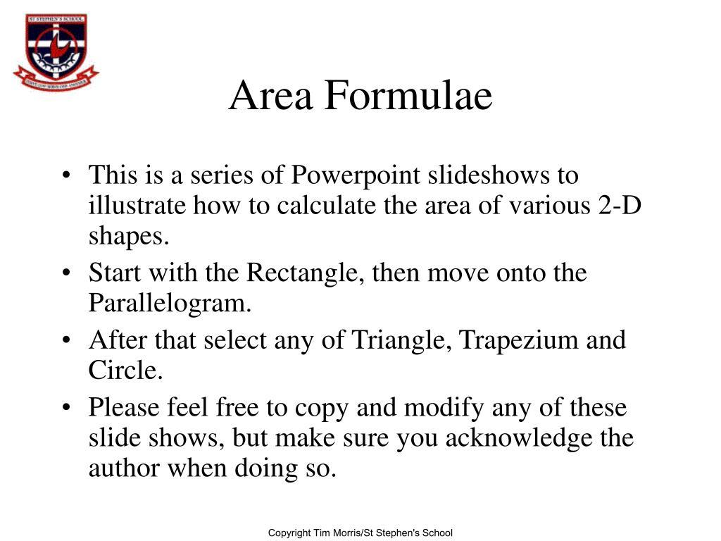 area formulae l.