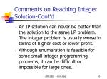 comments on reaching integer solution cont d