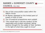 barber v somerset county council hol 2004