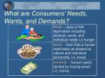 what are consumers needs wants and demands