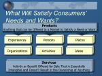 what will satisfy consumers needs and wants