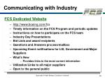 communicating with industry