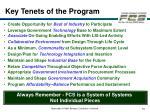 key tenets of the program