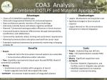 coa3 analysis combined dotlpf and materiel approach