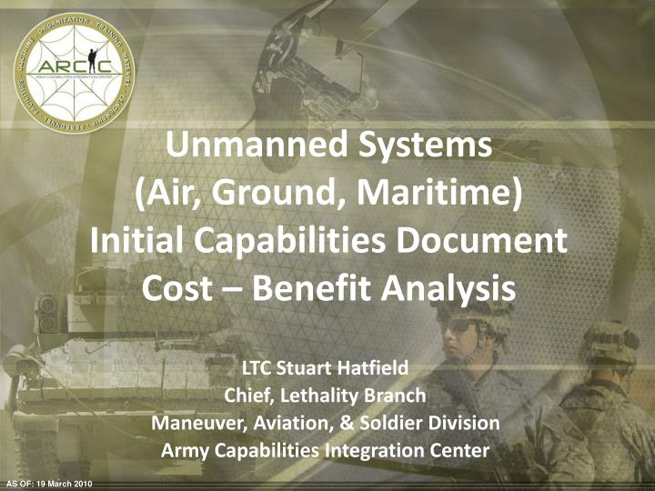 unmanned systems air ground maritime initial capabilities document cost benefit analysis n.