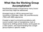what has the working group accomplished