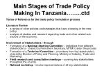 main stages of trade policy making in tanzania ctd