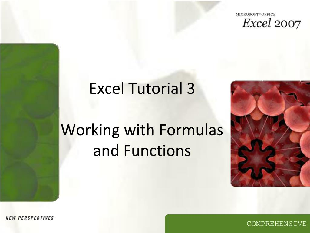 excel tutorial 3 working with formulas and functions l.