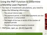 using the pmt function to determine a monthly loan payment