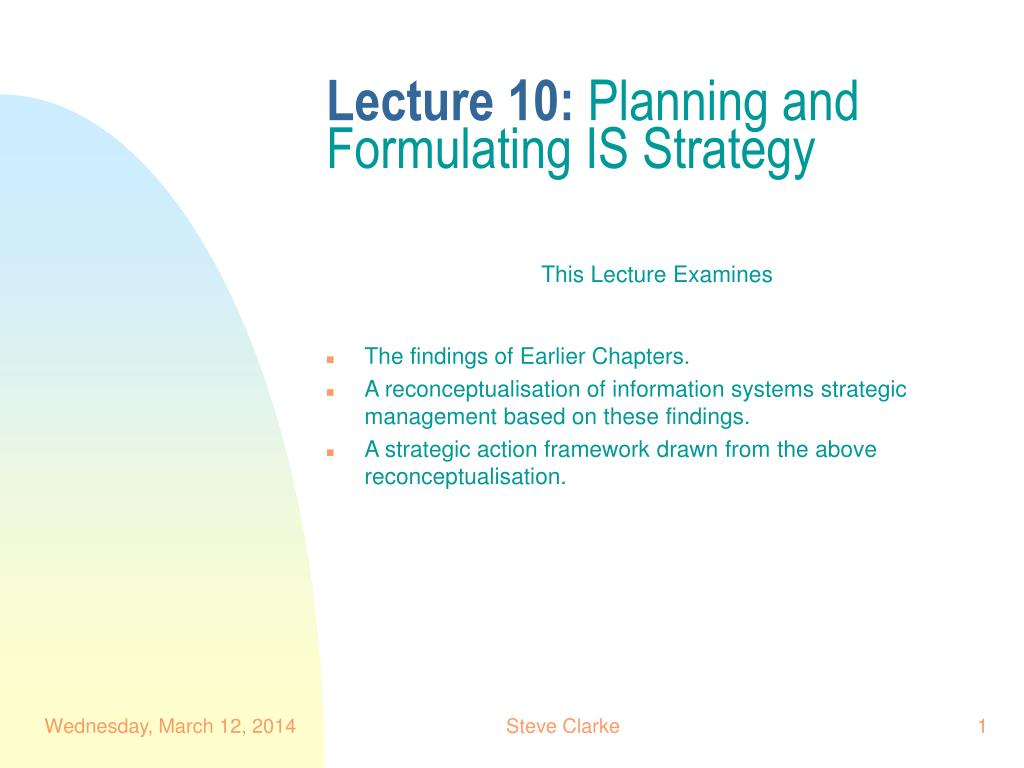 lecture 10 planning and formulating is strategy l.