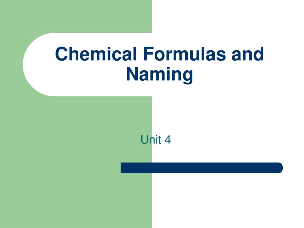 chemical formulas and naming l.