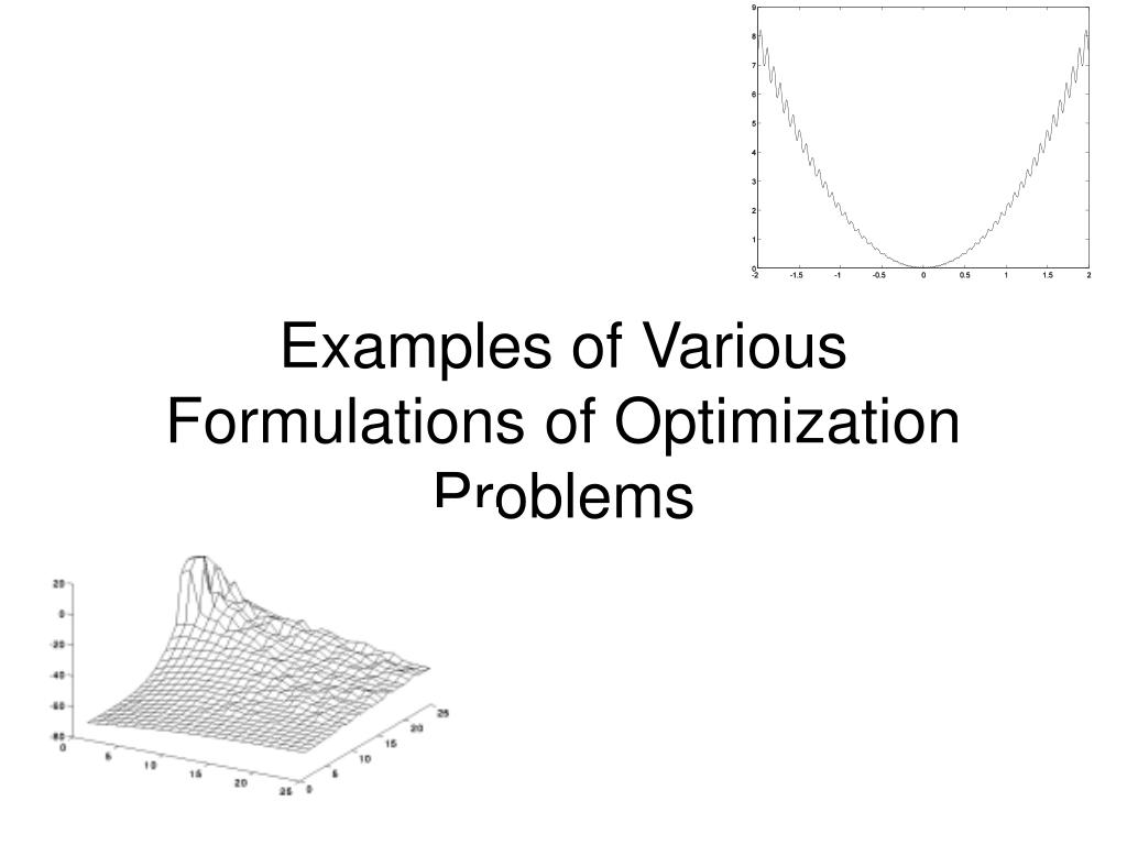 examples of various formulations of optimization problems l.