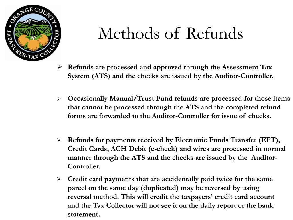 Methods of Refunds