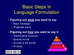 basic steps in language formulation