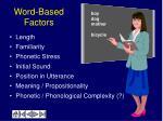 word based factors