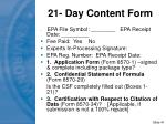 21 day content form