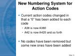 new numbering system for action codes