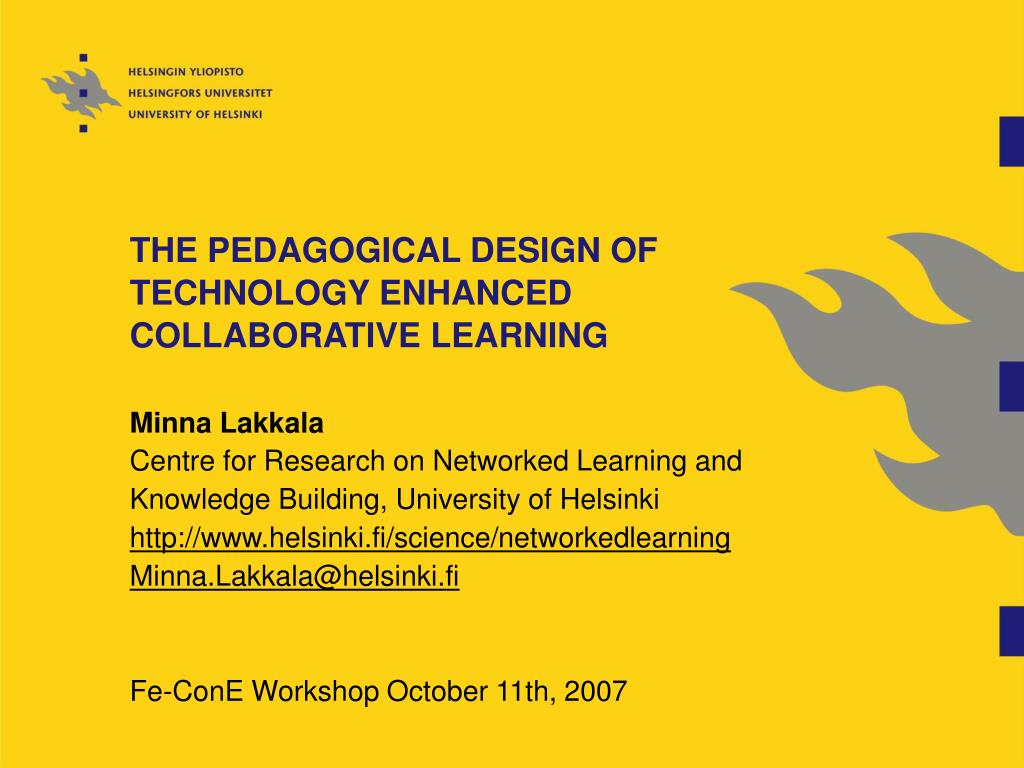 the pedagogical design of technology enhanced collaborative learning l.