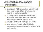 research development institutions