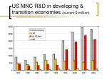 us mnc r d in developing transition economies current million