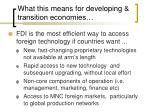 what this means for developing transition economies