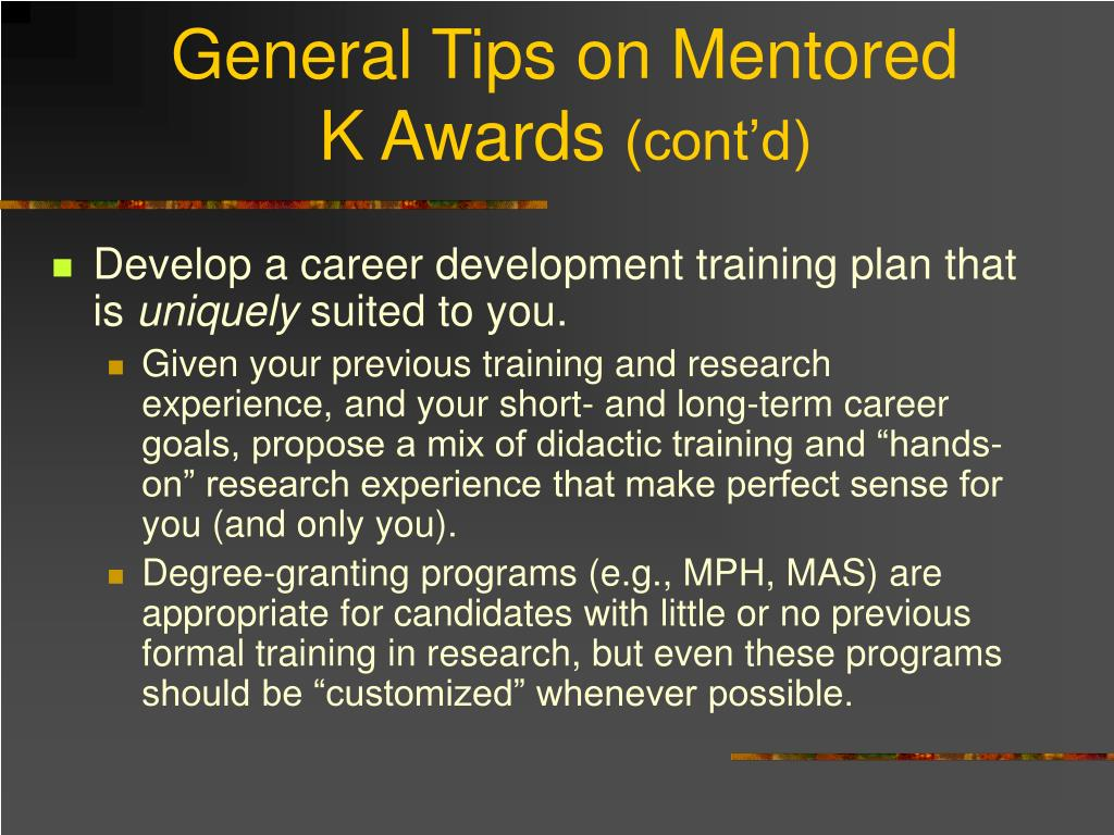 General Tips on Mentored