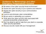 guidance for meteorology and other emergency preparedness systems