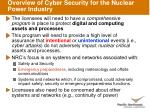 overview of cyber security for the nuclear power industry