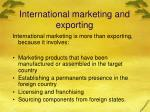 international marketing and exporting
