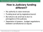 how is judiciary funding different