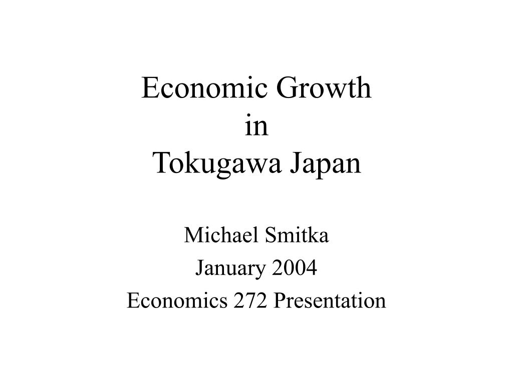 economic growth in tokugawa japan l.