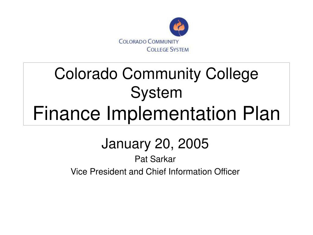 colorado community college system finance implementation plan l.
