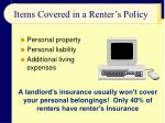items covered in a renter s policy