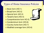 types of home insurance policies