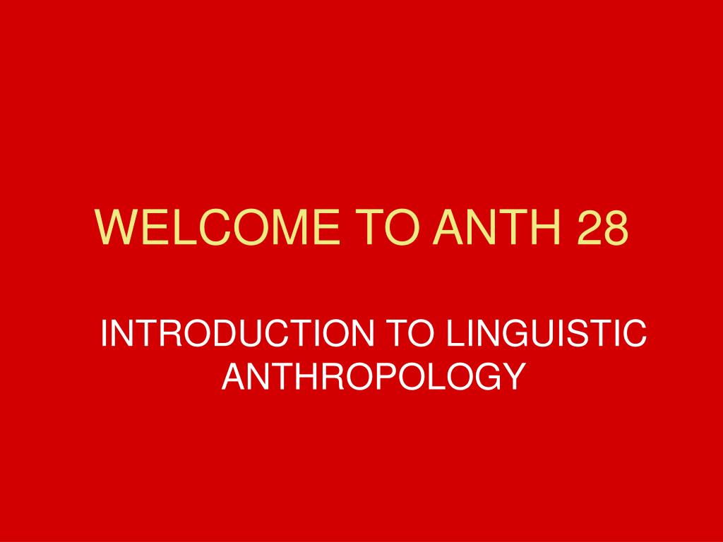 welcome to anth 28 l.