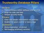trustworthy database pillars