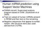 human mirna prediction using support vector machines