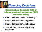 financing decisions