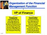 organization of the financial management function17
