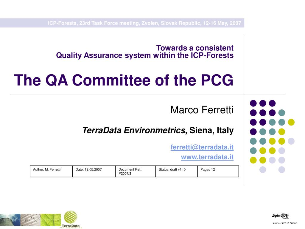 towards a consistent quality assurance system within the icp forests the qa committee of the pcg l.