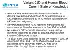 variant cjd and human blood current state of knowledge