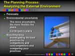 the planning process analyzing the external environment