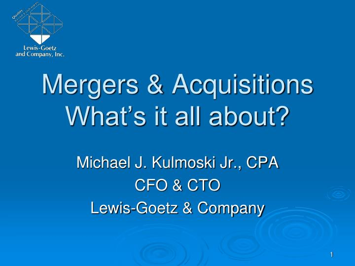 what is mergers and acquisitions