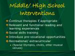 middle high school interventions