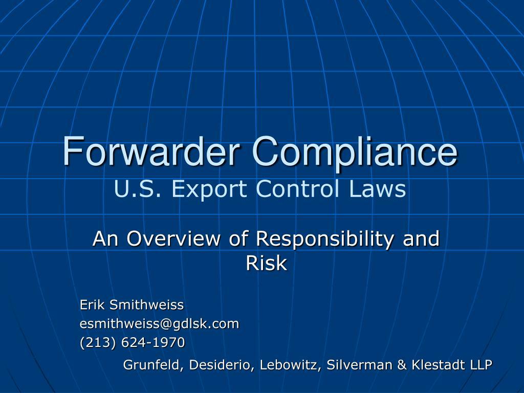 forwarder compliance u s export control laws l.