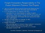 freight forwarders responsibility in the export shipment process the players