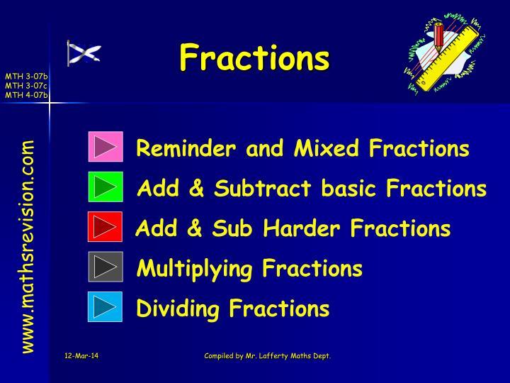 fractions n.