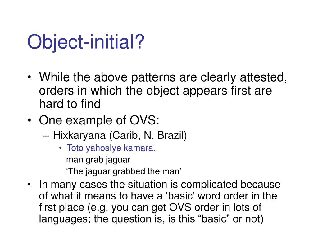 Object-initial?