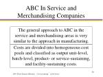 abc in service and merchandising companies